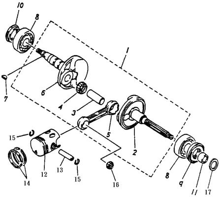 Crankshaft, Piston (Adly ATV 50cc 2T)