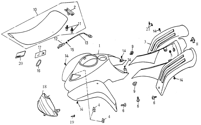 Body Cover, Seat (Adly ATV 50cc 2T)