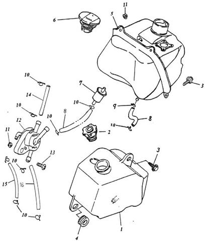 Fuel Tank, Oil Tank (Thunder Bike 50)
