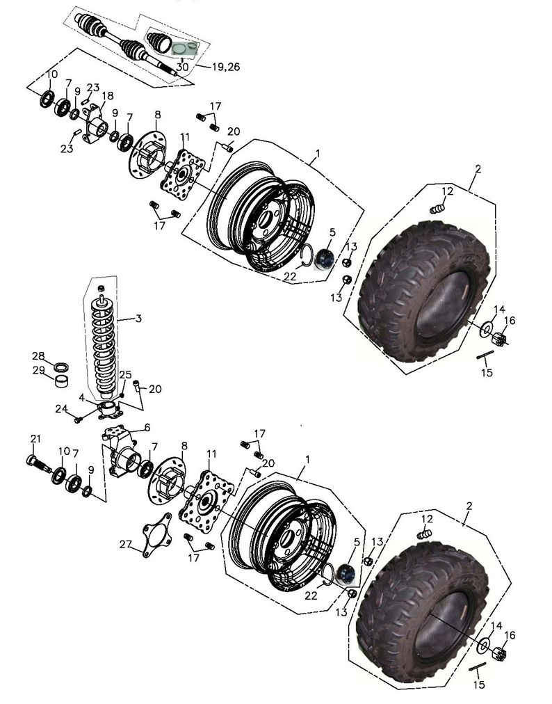 Wheels Front and Rear (Adly Mini Car 320)
