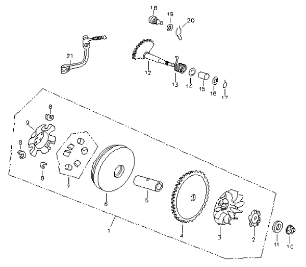 Pulley Driven Face (Bombardier Mini DS 90 4T)