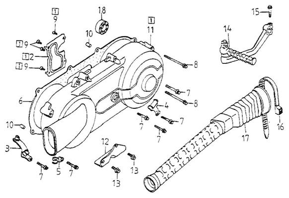 Left Crankcase Cover (Adly GK-125 (BK-125) 2005)