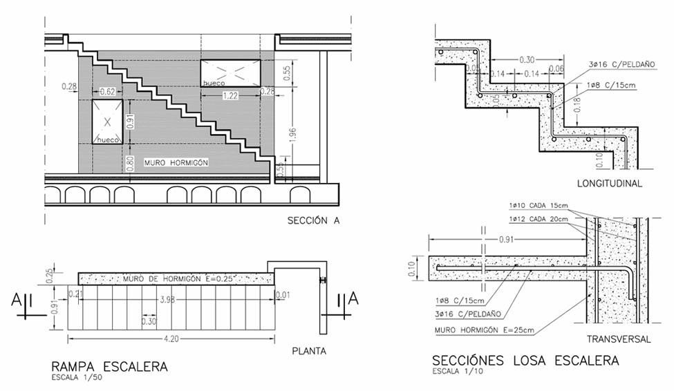Construcci n de una escalera for Planos de escaleras de concreto armado