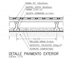 Detalle paviemento exterior madera for Detalle suelo tecnico