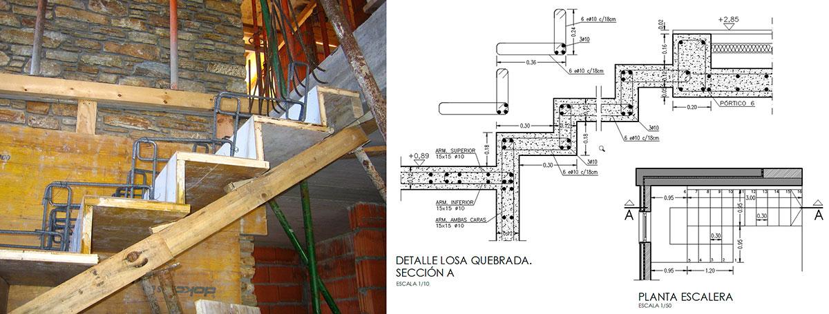 Construcci n y detalle constructivo escalera for Escalera de hormigon con descanso