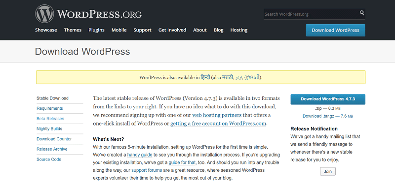 download wordpress open file