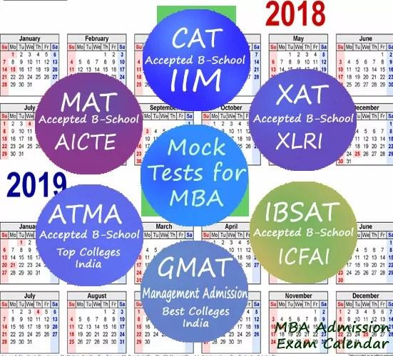 MBA Admission Exam Calendar 2018