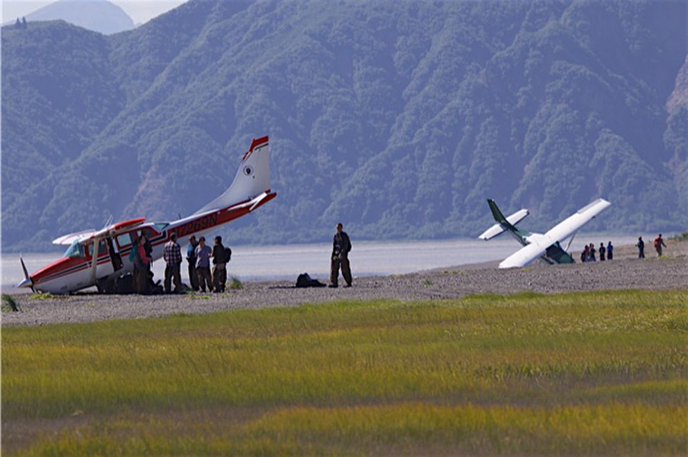 No injuries when plane carrying 6 flips during beach landing at bear-viewing site