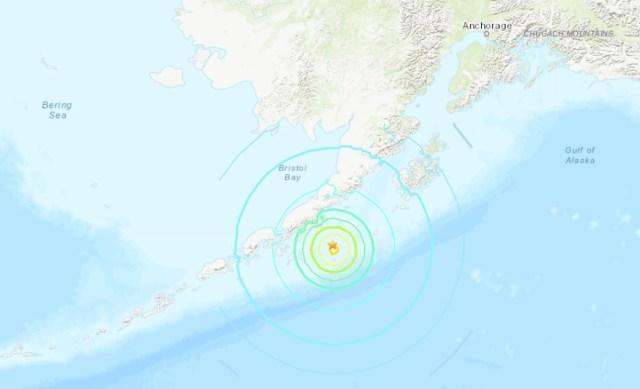 Location of earthquake off the Alaska Peninsula coast. (USGS map)