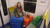 Linnie on a train to Paris