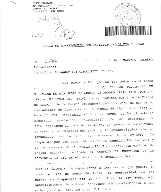 Unter cipolletti docente de licencia por oncolog a no for Notificacion ministerio del interior