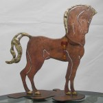 Greek horse in steel, small sculpture