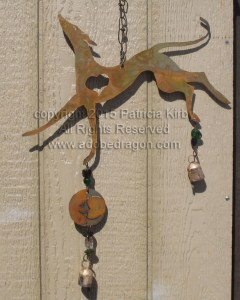greyhound windchimes, metal and with glass beads