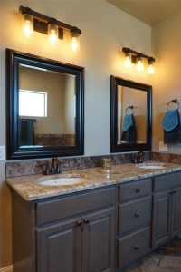 master bath vanity with granite counters & double sinks