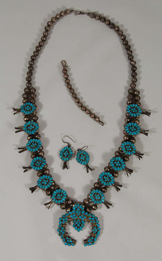 Southwest Indian Jewelry Native American Jewelry Zuni Pueblo Necklace Earring Complete