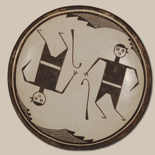 Acoma Pueblo Black On White Dish With Prehistoric Mimbres