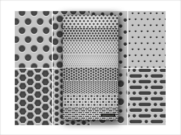 8 Seamless Light Metal Grid Patterns
