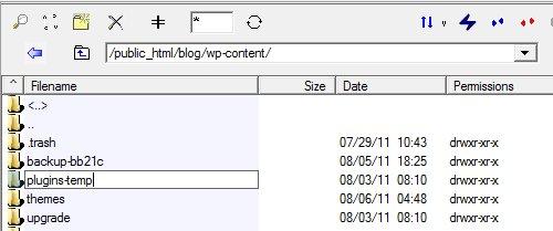 Plugins klasörünü sıfırlayın