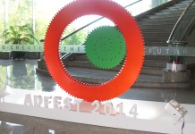 A sculpture dares delegates to Co-create the Future at AdFest 2014.JPG