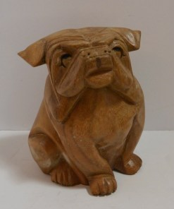 Folk Art Wood Carved Sitting Bulldog Front- Dog's Tale Collectibles