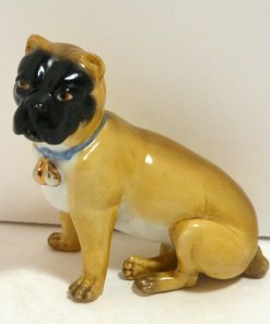 Antique German Dresden Pug Dog Side- Dog's Tale Collectibles