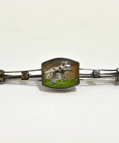 Silver Reverse Painted Hunting Dog Pair Pin Front- Dog's Tale Collectibles