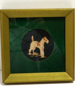 Needlepoint Wire Haired Fox Terrier Dog Front - Dog's Tale Collectibles