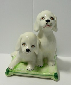 Italian Hand Painted Porcelain Puppy Pair Front- Dog's Tale Collectibles