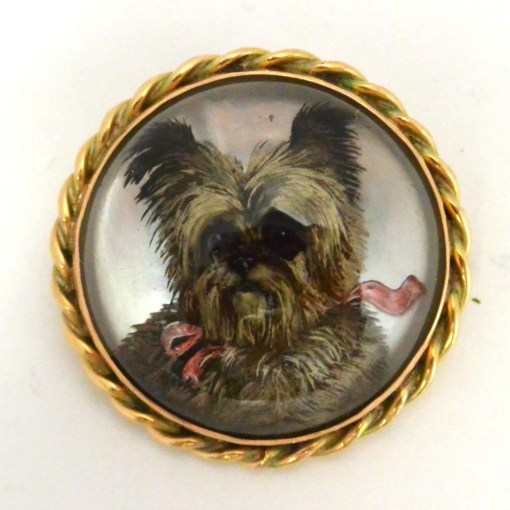 Essex Crystal Terrier Portrait Brooch Front 1- Dog's Tale Collectibles
