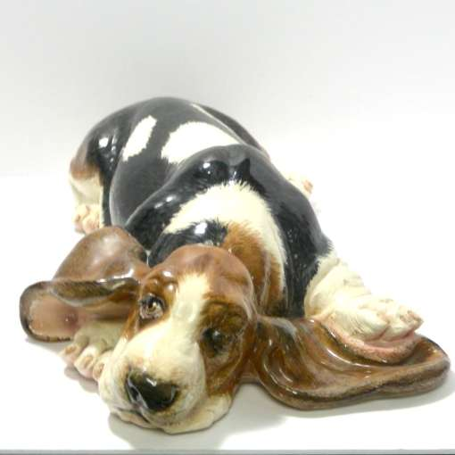 Large Hand-Painted Basset Hound Ceramic Figurine