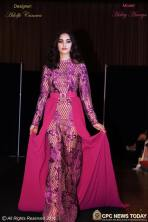 Fuchsia French Lace Column Gown