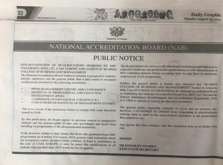 National Accreditation Board Releases List Of Private Universities Without Accreditation. 4