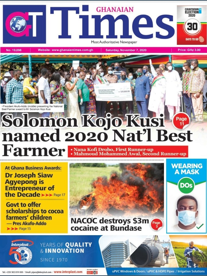 Today At The Newsstand; The Weekend's Newspaper Headlines. 30