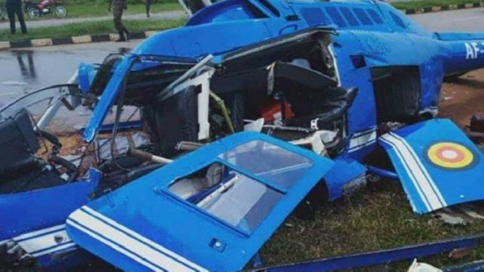 The wreckage of the UPDF jet ranger