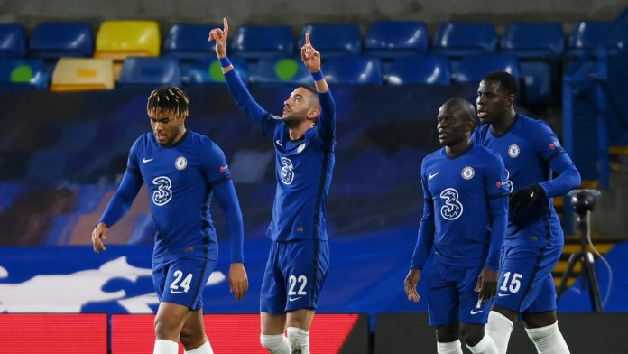 Hakim Ziyech of Chelsea celebrates with teammates Reece James, Ngolo Kante and Kurt Zouma after scoring their team's first goal during the UEFA Champions League Round of 16 match between Chelsea FC and Atletico Madrid at Stamford Bridge on March 17, 2021 Image credit: Getty Images