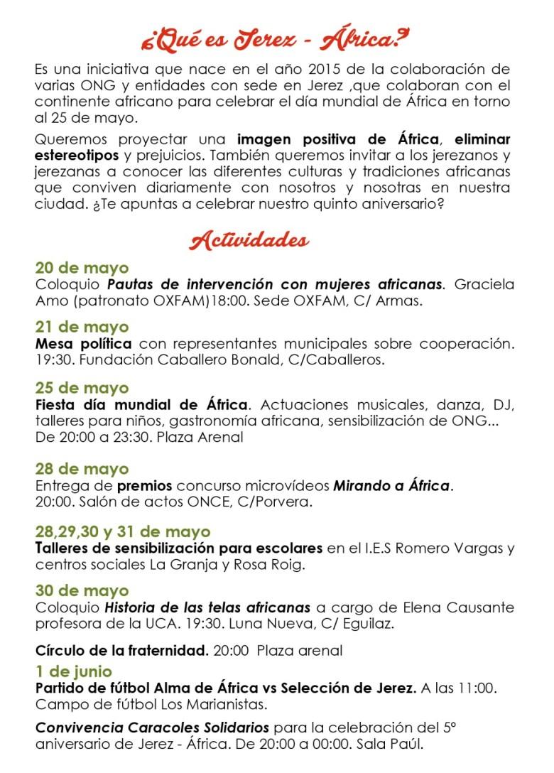 Del 20 de Mayo al 01 de Junio de 2019, Jerez-Africa 5 Aniversario adondevoyconmifamilia cadiz niños