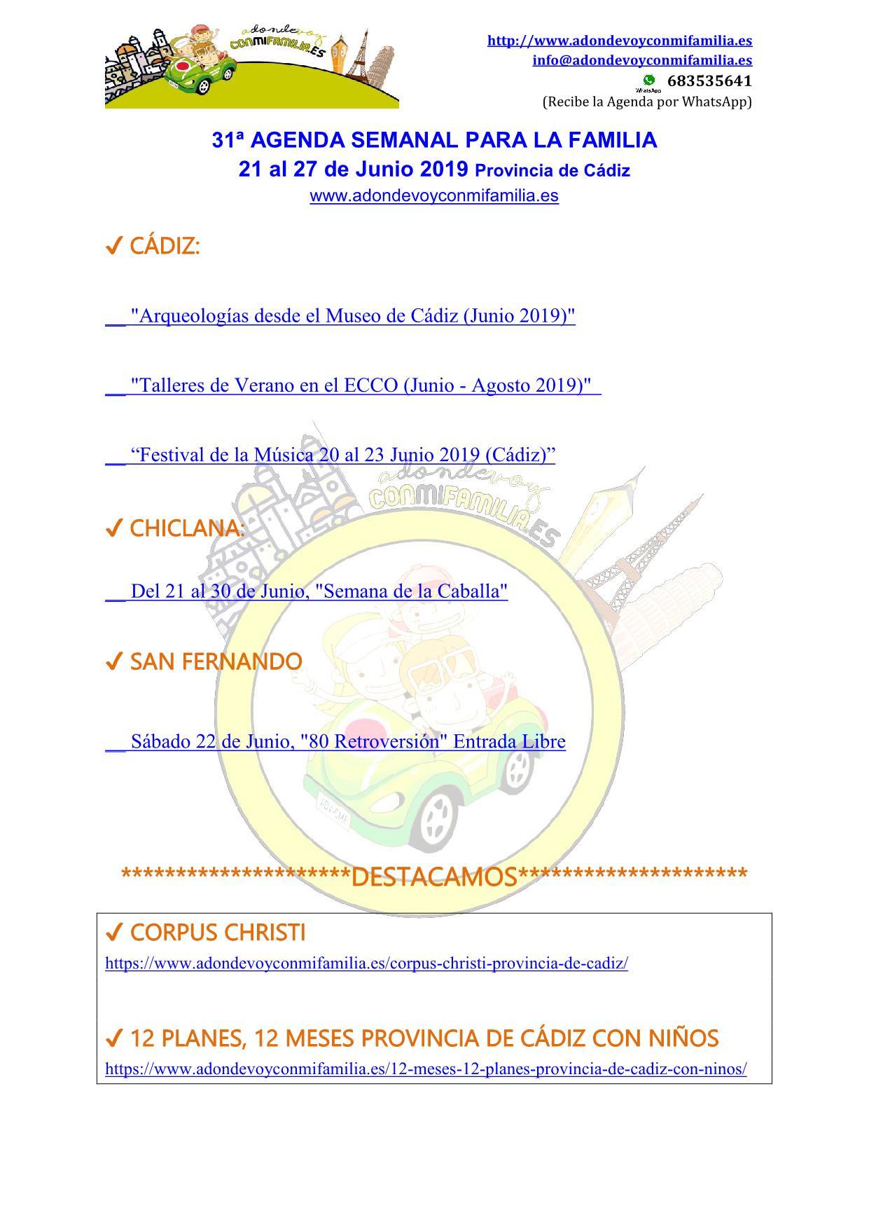 031 Agenda semanal familiar 21 al 27 Junio 2019