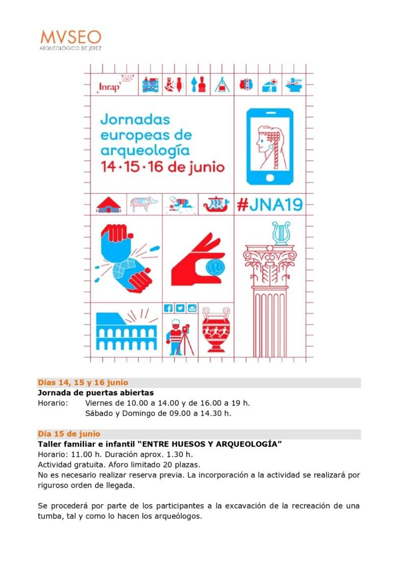 """Sábado 15 de Junio 2019, """"Taller Infantil y Familiar, Entre Huesos y Arqueología"""", Museo Arqueológico de Jerez"""