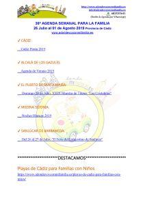 036 Agenda semanal familiar 26 julio al 01 Agosto 2019