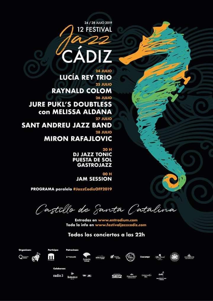"""🎷12 FESTIVAL DE JAZZ (CÁDIZ )🎶 Del 24 al 28 de Julio de 2019, """"12 Festival de Jazz Cádiz"""" Festival con escenarios en el Castillo de Santa Catalina y el Hotel Atlántico."""