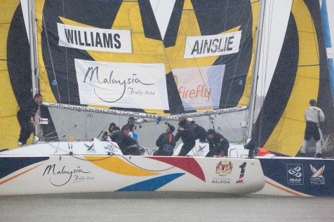 Ian Williams leads Ben Ainslie during qualifying session 4 Monsoon Cup 2010