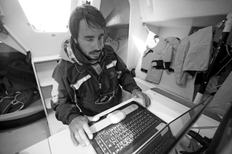 "Vincent Lantin in a training session onboard the Class 40 ""Changabang"""