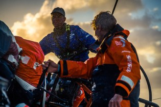 Chris Nicholson, Peter Wibroe, crossing the Agulhas current off the South of Africa, this 70 miles stretch we cross today is one of the most infamous parts of water in the world.