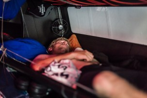 Peter Wibroe catching some shut eye while he's off watch.