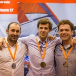 Damien Cloarec, Tanguy Le Turquais, Jonas Gerckens, podium 2014 du Championnat de France