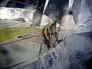 Volvo Ocean Race, VOR, 2014-15, onboard, OBR, Leg6, Team Brunel, Jens Dolmer, outrigger, splash, GoPro, Hero, Robeco
