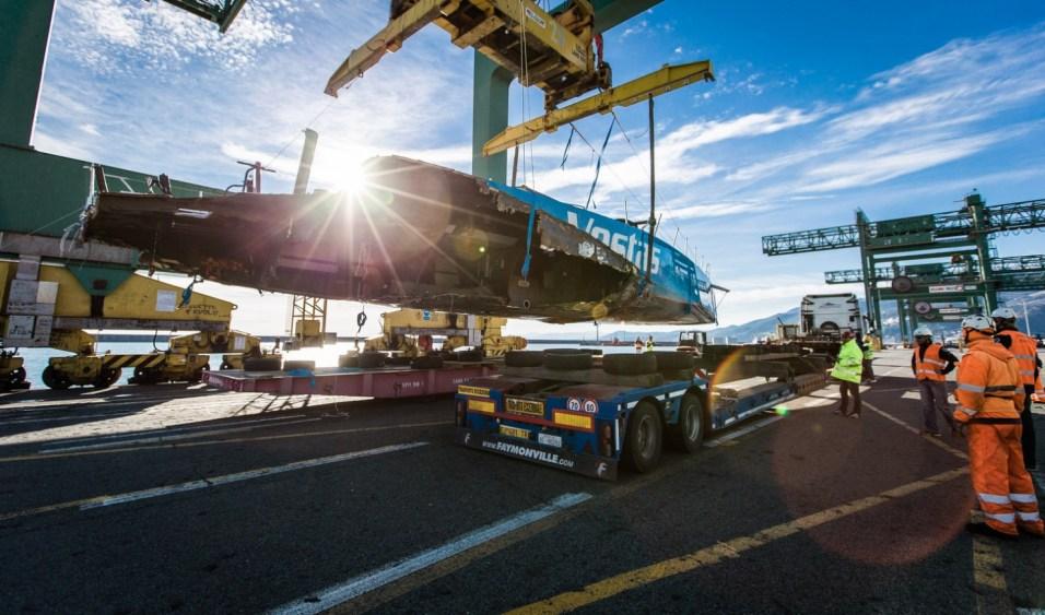 Arrival, GAC, Genoa, Italy, OBR, Ocean, Pindar, Race, Ship, VOR, Vestas, Volvo, transport, Team Vestas Wind, Volvo Ocean Race