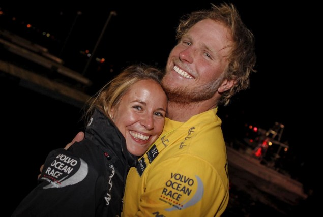 VOR, Volvo Ocean Race, 2014-15, Newport, arrivals, aerial, Abu Dhabi Ocean Racing, Luke Parkinson, Parko, family