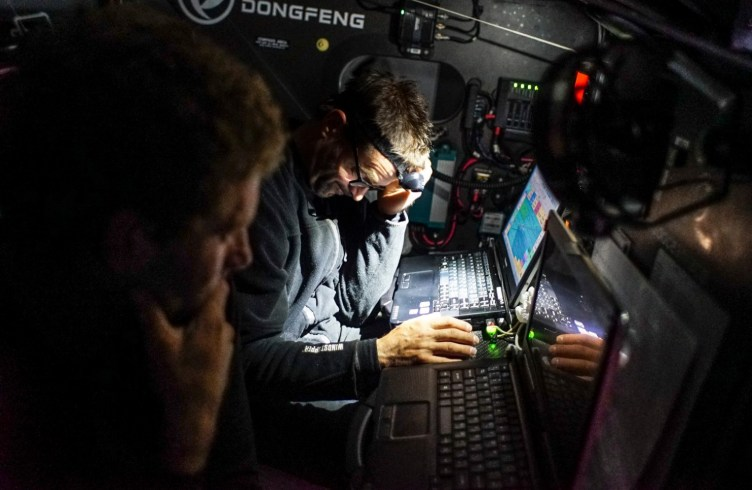 2014-15, Dongfeng Race Team, Leg7, OBR, VOR, Volvo Ocean Race, onboard, Pascal Bidegorry, down below, nav, navigation desk, device, laptop, quote