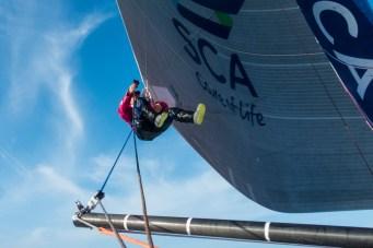 2014-15, Leg 7, Liz Wardley, OBR, Team SCA, VOR, Volvo Ocean Race, onboard, harness, clew